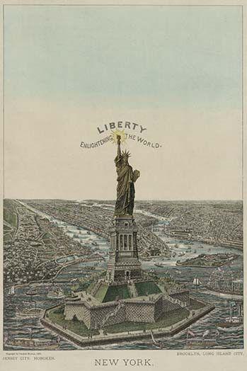 "New York. Bartholdi ""Statue of Liberty,"" erected on Bedloe's Island, in New York Harbor                                                                                                                                                                                 More"