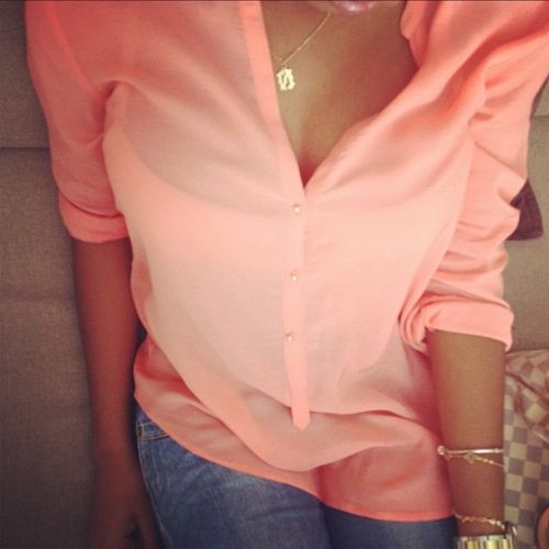 love this top..: Blouses, Coral, Woman Fashion, Design Clothing, Shirts, Color, Outfit, Pink Rose, Gold Jewelry
