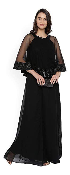 c10483b1983 indian Rare Women Black Solid Maxi Dress अभी खरीदें