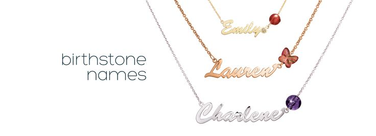 Birthstone Names by me∙mi. Choose between regular or large size font. Available in silver, 9kt yellow gold or 9kt rose gold. Select your personal birthstone and customise with a diamond!