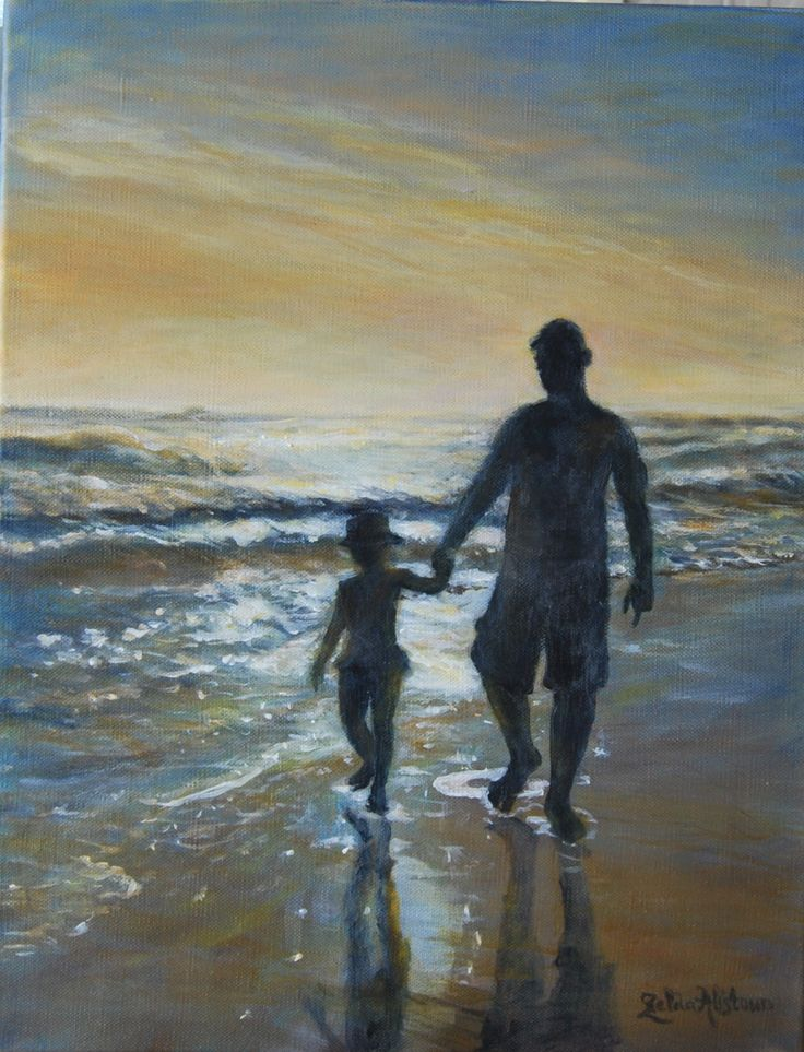 """""""Daddy & sy Girl"""" Acrylic on canvas (Father and daughter by shimmering ocean at Blue Horizon Bay) by Zelda Alistoun paintings"""