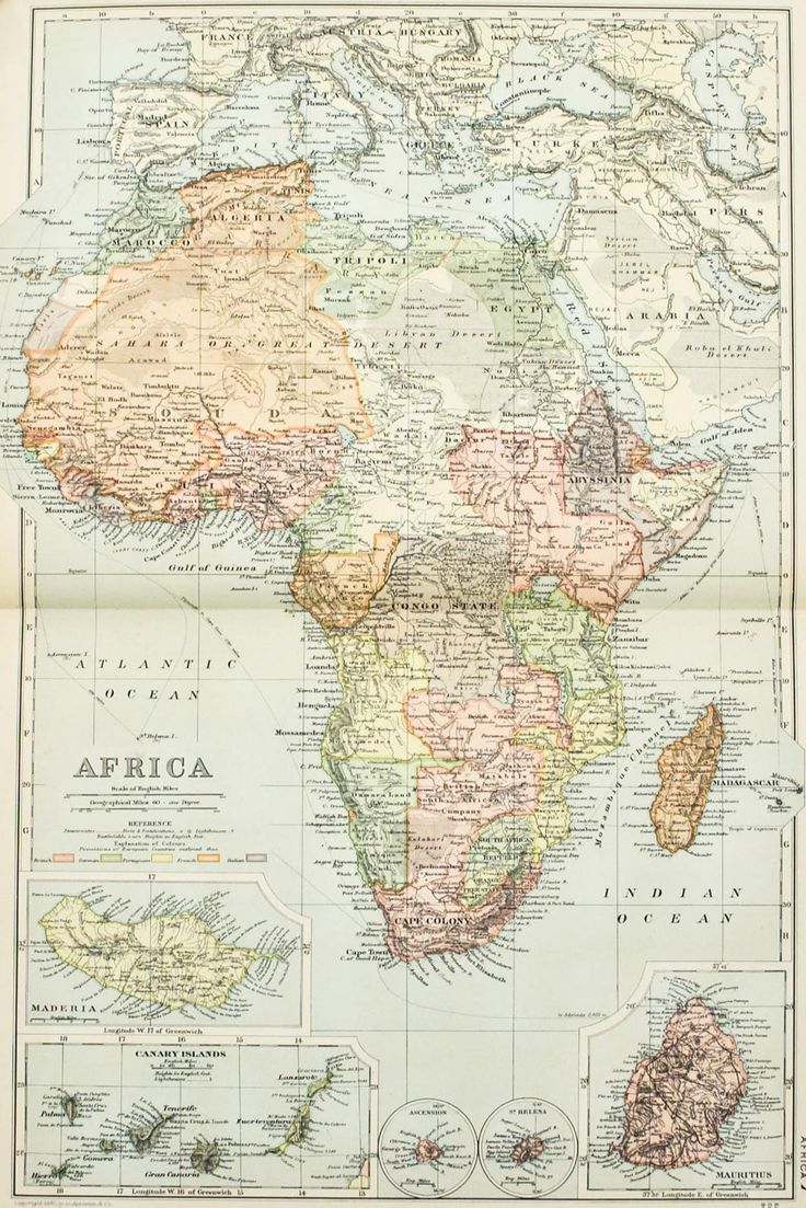 Africa Cape Colony Tripoli Abyssinia Antique Map 1891