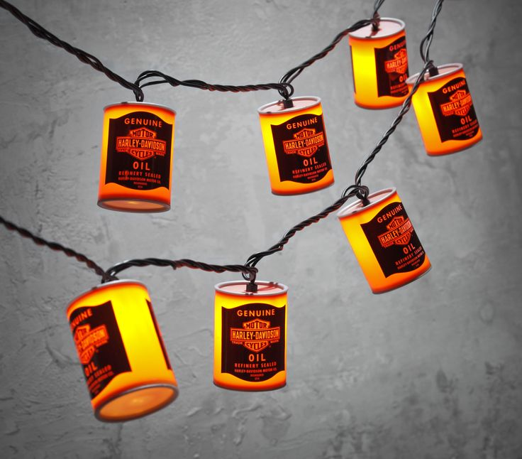Add some slick décor to your next get-together. | Harley-Davidson Oil Can Party Lights