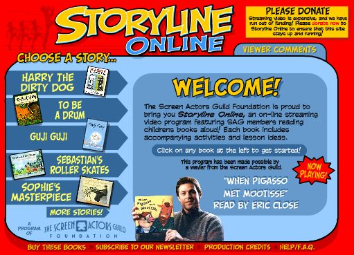 Storyline Online offers stories read by Screen Actors Guild members. The stories are engaging and colorful. An activity guide is available for each story which has online as well as offline activities. There are many stories to choose from. Stories can be listened to with or without captions.