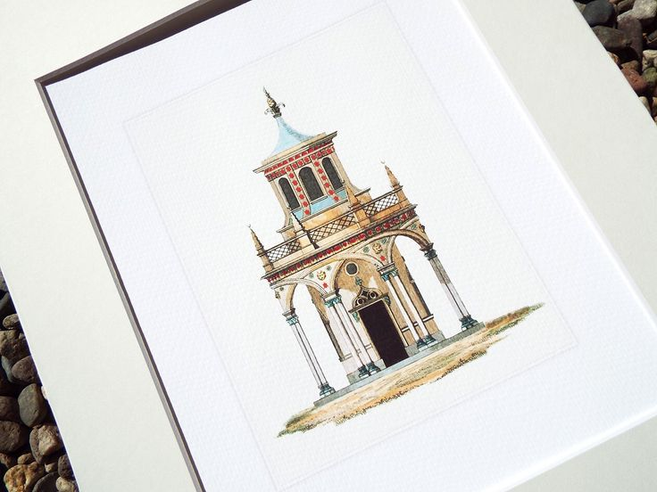Moroccan Garden Pavilion with Red Stars Architectural Archival Quality Print by paperwords11 on Etsy https://www.etsy.com/listing/204627495/moroccan-garden-pavilion-with-red-stars