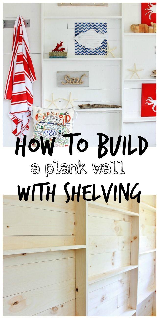 How to Build a Plank Wall With Shelving #HowToBuildAWallWithShelvingDIY, #NauticalWallDIY, #DIYWallWithShelf