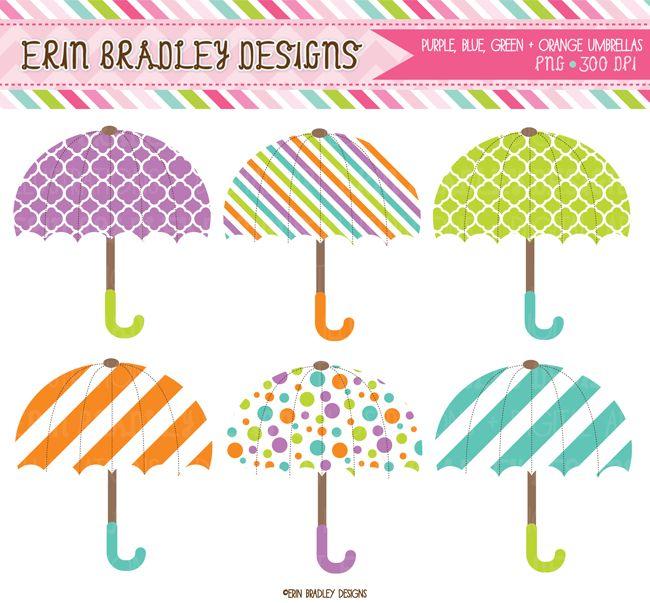 Instant Download Umbrella Digital Clipart Graphics Purple Blue Orange & Green Personal & Commerical Use