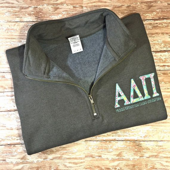 Sorority Quarter Zip Sweatshirt Greek Letters by SavviStitches