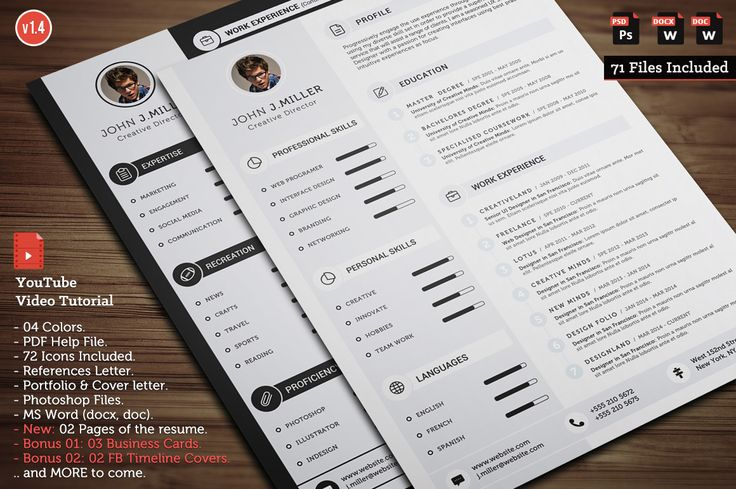 Clean CV Resume by CodePower on Creative Market