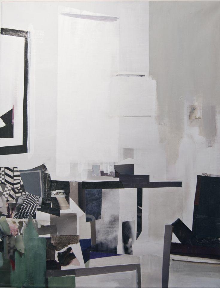 Mari Jäälinoja, Domestic Landscape, 2015, acrylic and collage on canvas, 92x71cm