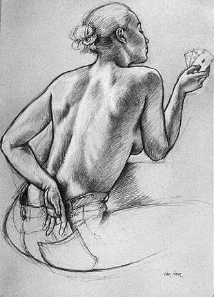 """Etude pour """"La tricheuse""""  1998Crayon sur papier 106 x 75,5 cm galerie Blondel"""