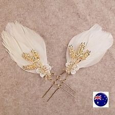 2 Women Bride Wedding white Feather Race Melbourne Cup Hair Clip Pin Fascinator