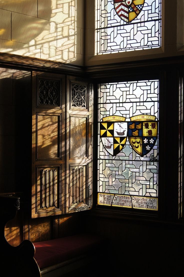 Leaded and stained glass windows with crests