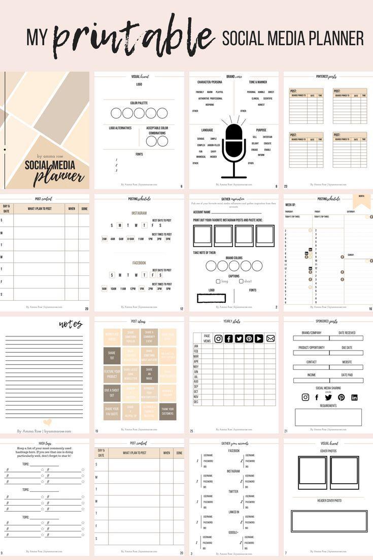 Interactive And Personal Social Media Branding And Post Content Workbook Social Media Marketing Planner Social Media Planner Marketing Strategy Social Media