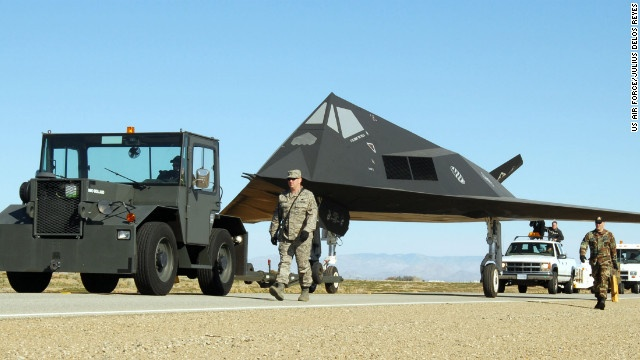 The region surrounding California's Edwards Air Force Base north of Los Angeles has served to develop and test so many aircraft it's been dubbed the Aerospace Capital of America. This stealthy F-117 Nighthawk was decommissioned in 2008. - CNN.com