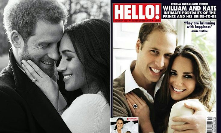 Prince Harry and Meghan Markle -  Alexi Lubomirski via Getty Images..  Prince William and Kate Middleton - Mario Testino/Clarence House Press Office... Hello! mag.