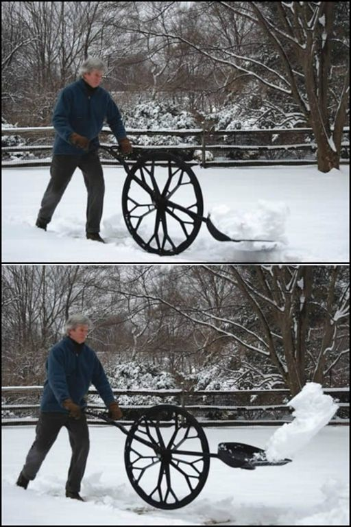 This wheeled shovel design reduces the injuries associated with snow shoveling. Do you know someone who could use one?