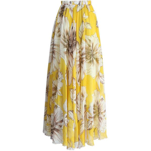 Chicwish Marvelous Floral Maxi Skirt in Yellow (3.750 RUB) ❤ liked on Polyvore featuring skirts, floor length maxi skirt, yellow cami, brown maxi skirt, long floral maxi skirt and brown cami