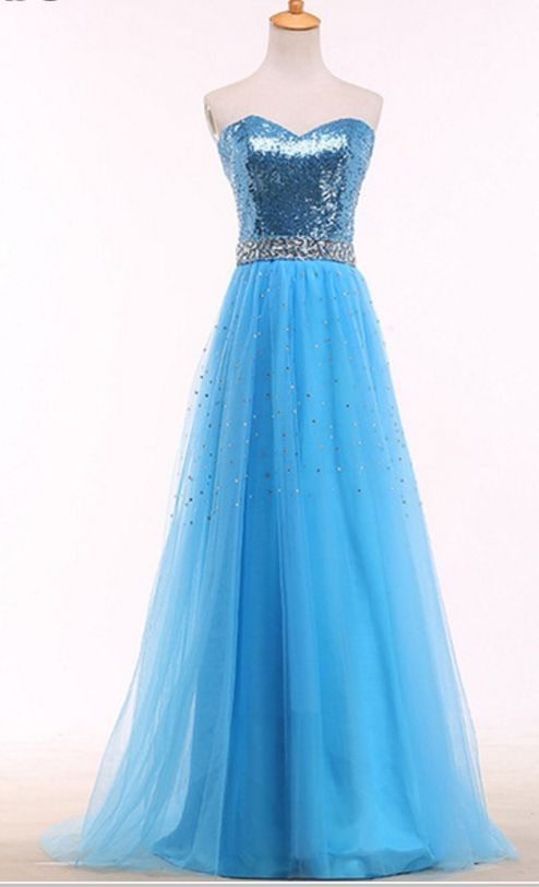 A bright blue ball gown with a golden tulle gown and a formal gown of crystal sex evening dresses