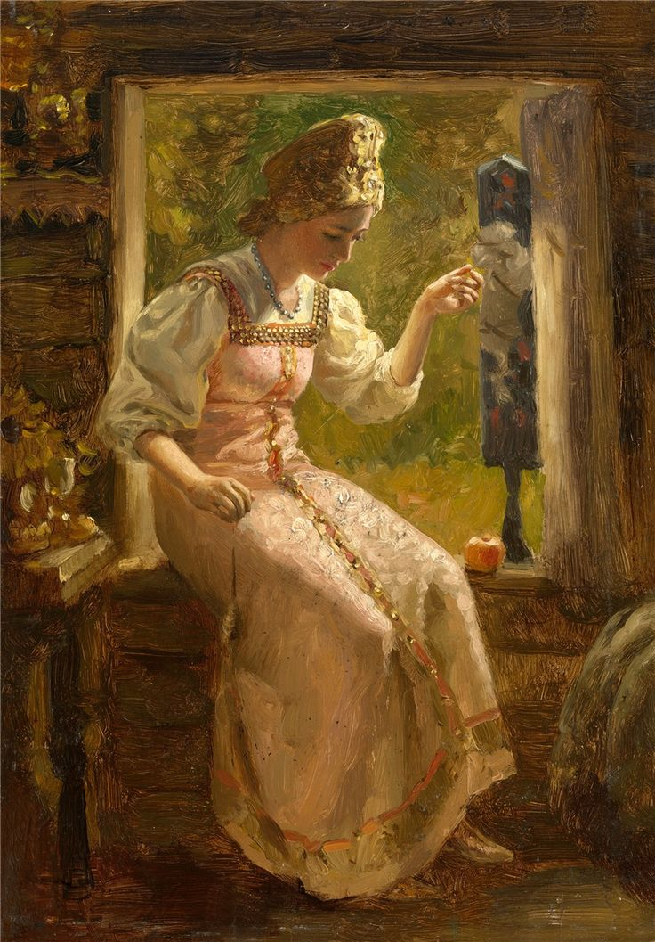 RUSSIAN SCHOOL (19TH-20TH CENTURY)  Young Woman Spinning Yarn by the Window