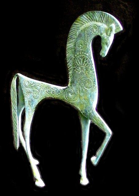 ANTIQUE BRONZE HORSE WEINBERG, EAMES 50s ETRUSCAN, DANISH, AVANT GARDE