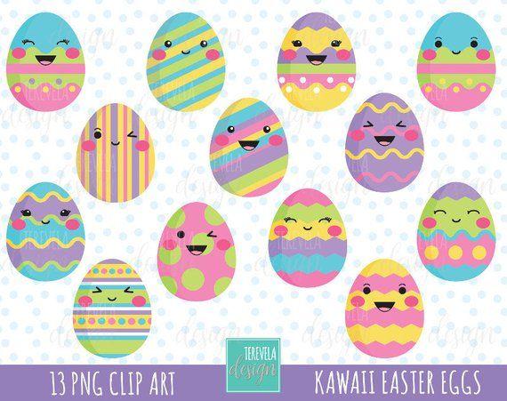 EASTER clipart, easter eggs clipart, kawaii easter eggs ...