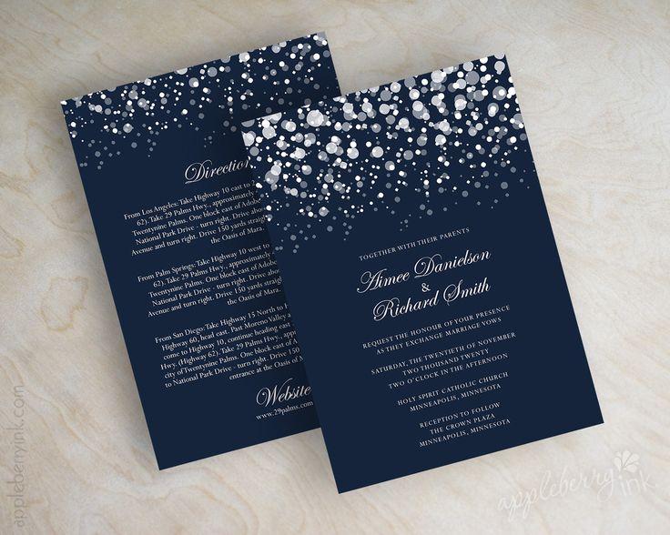 Navy blue and silver polka dot snow wedding invitations, wedding invites www.appleberryink.com