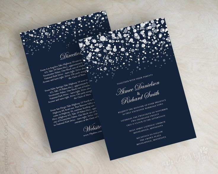 Navy blue and silver polka dot snow wedding invitations, wedding invites www.appleberryink.com