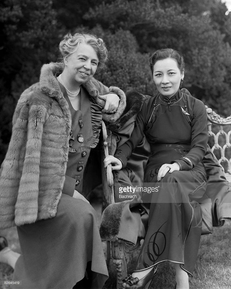 A portrait of the American First Lady Eleanor Roosevelt (1884 - 1962) and the Chinese First Lady Madame Chiang Kai-Shek (1897 - 2003), Washington, DC, 1943. Born Soong May-ling, the First Lady of the Republic of China sits on a bench on the White House lawn during her visit with Mrs. Roosevelt.
