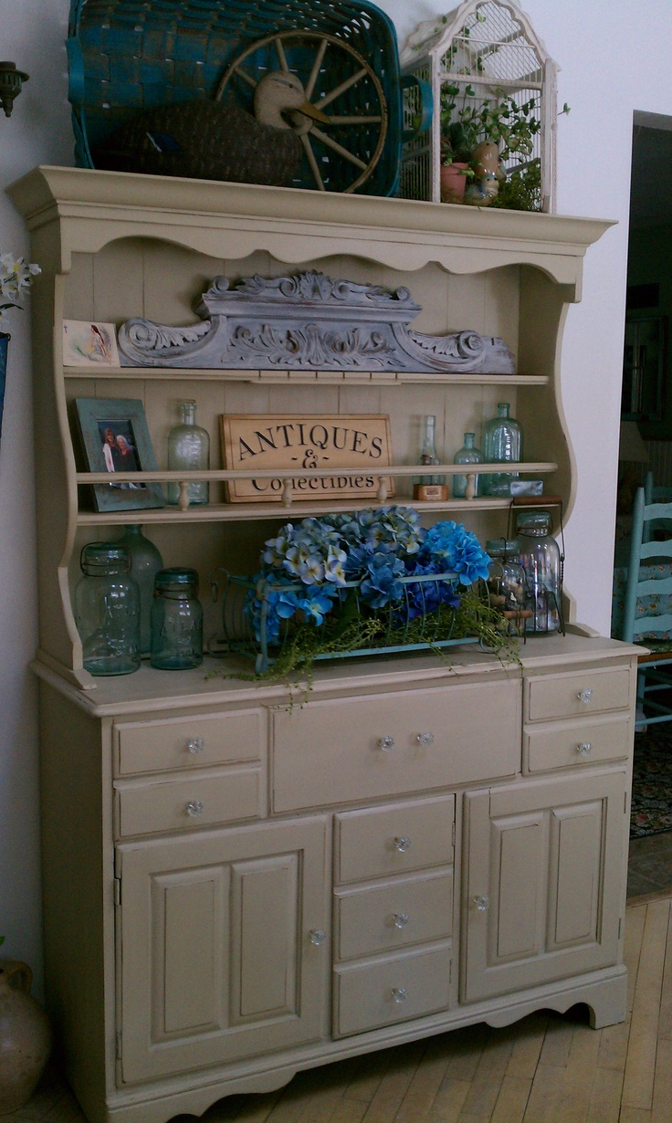 Hutch Painted With Chalk Paint Gray With Maple