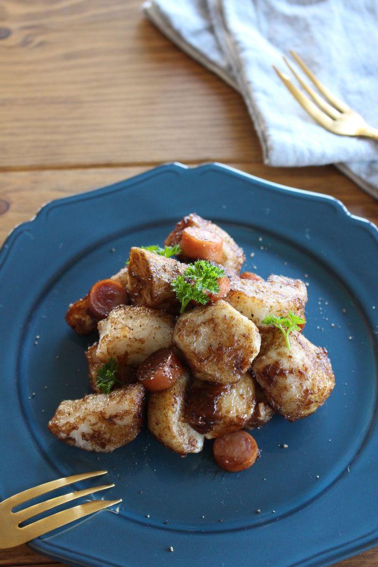 揚げた里芋と長芋をバルサミコソースで和えた、寒い時期におススメの温かいサラダです。