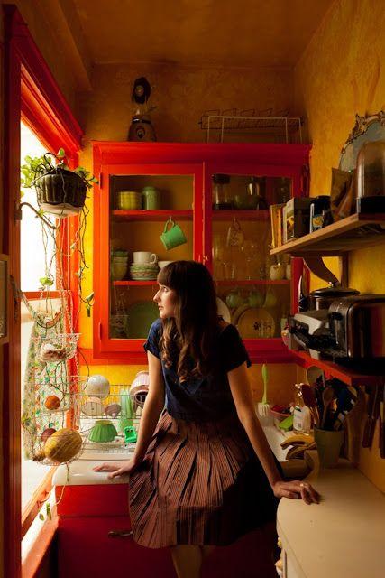 Lovely happy bright as yellow orange bohemian kitchen                                                                                                                                                      More