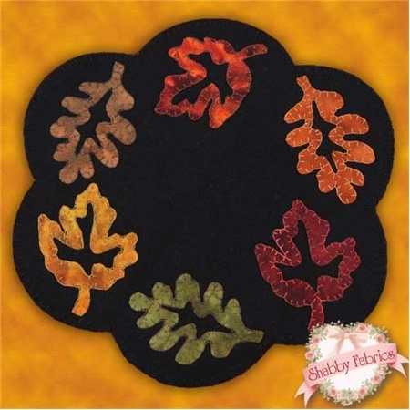 Applique Wool Fall Foliage Candle Mat