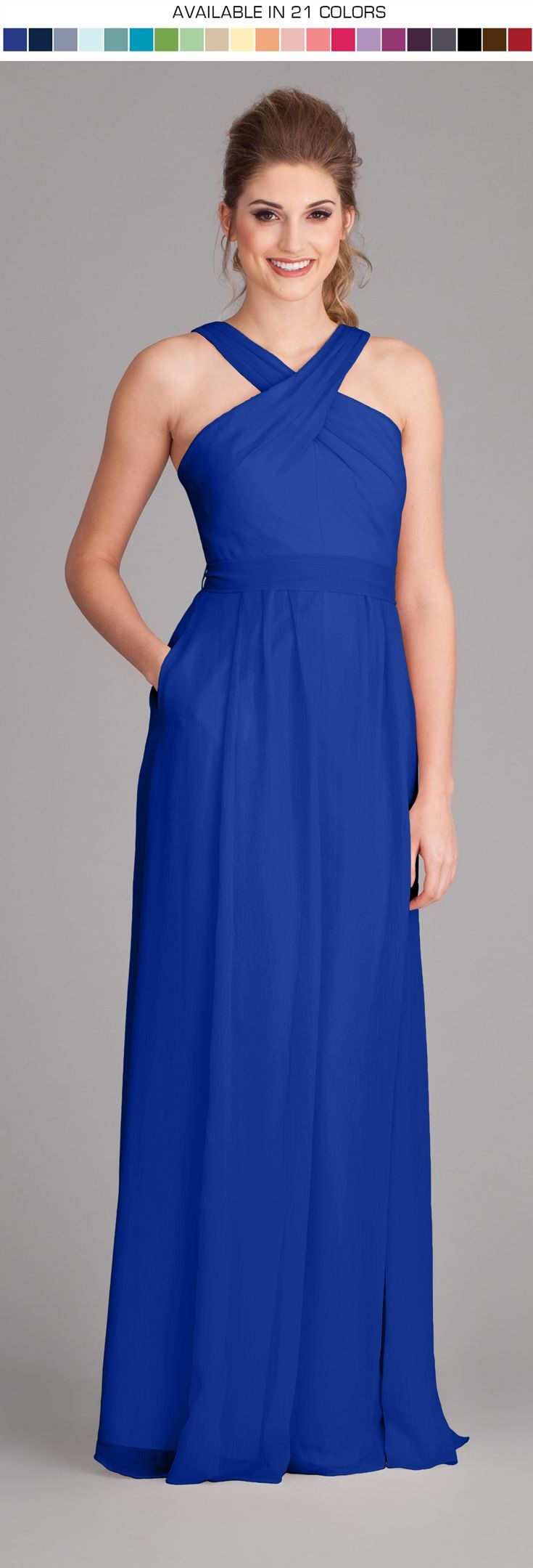 A gorgeous full-length bridesmaid dress with unique criss-cross straps. **Request your free swatch by emailing us today!**
