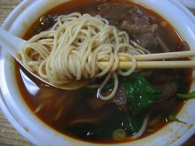 HAND-PULLED NOODLE WITH BEEF IN HOT AND SPICY SOUP  Super Taste (26 Eldridge Street between Canal and Division Street)