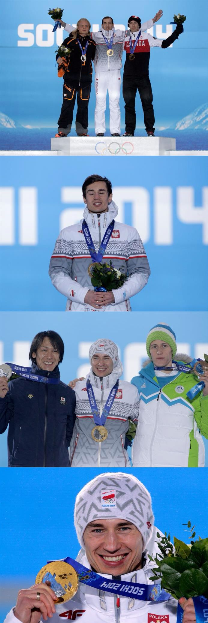 Sochi 2014 Day 10 / Medal Ceremony (L-R) Silver medalist Koen Verweij of Netherlands, gold medalist Zbigniew Brodka of Poland and bronze medalist Denny Morrison of Canada celebrate on the podium during the medal ceremony for the Men's 1500 m Speed Skating, (L-R) Silver medalist Noriaki Kasai of Japan, gold medalist Kamil Stoch of Poland and bronze medalist Peter Prevc of Slovenia celebrate on the podium during the medal ceremony