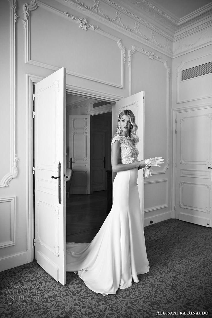 alessandra rinaudo 2017 bridal cap sleeves bateau neckline heavily embellished…