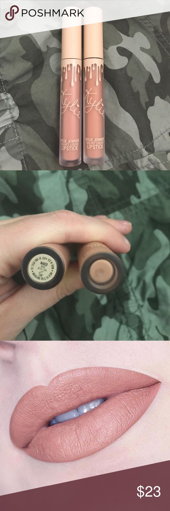 """Kylie lipsticks Send me Nudes Vaca Collection NAKED and BIRTHDAY SUIT💄💋These are 2 of the lipsticks from the Send Me Nudes box in the Vaca Collection. These were only swatched on my hand, and I decided did not compliment my skin tone. The one lipstick does have a missing sticker, but it is 100% """"Birthday Suit"""" because I kept the other 2 and they have stickers. This was $45 total so Im asking for the cost of each lipstick, which is $11.25 each. Kylie Cosmetics Makeup Lipstick"""