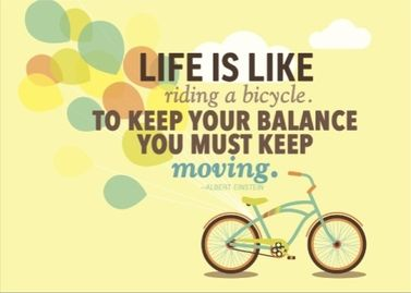 This is a real card (not an e-card) shared from Sendcere. Life is like riding a bicycle. To keep your balance you must keep moving. - Albert Einstein #quote #inspiration #encouragement #life