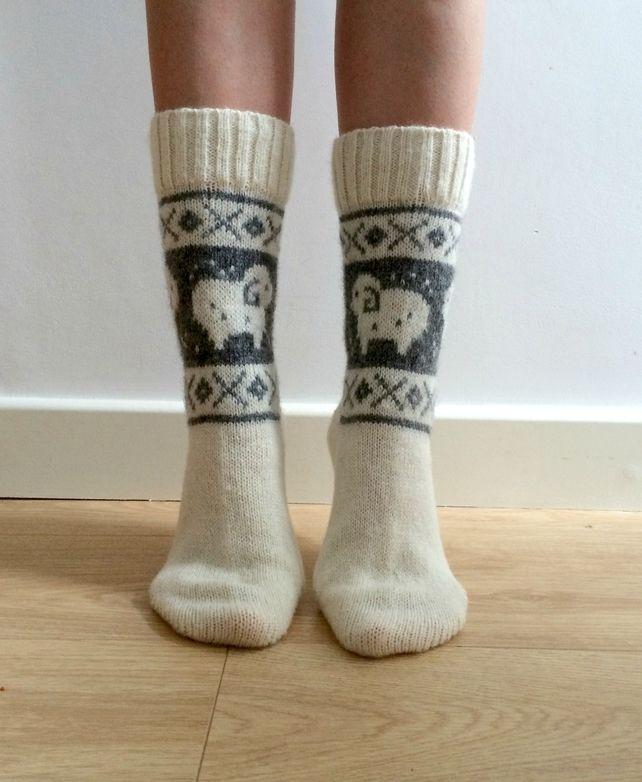 READY TO SHIP White Wool Socks Ram Sheep Christmas Winter Nordic Fair isle £25.00 #folksyfriday