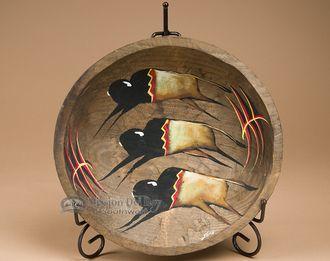 "Hand Painted Bowl & Stand 11.5"""" -Thundering Herd (pb71)"