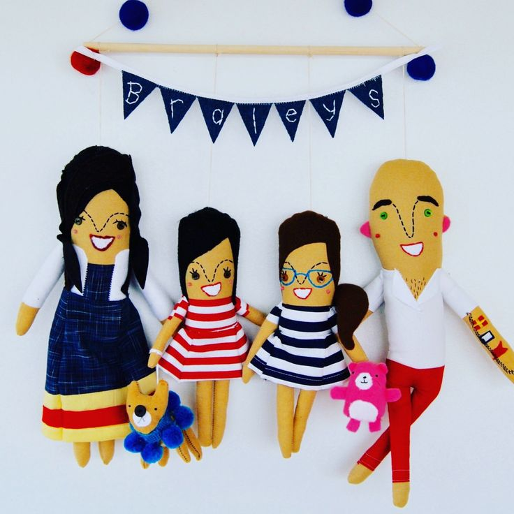 Wall Hanging Family of Four Personalized Made to Order by PinkCheeksStudios on Etsy https://www.etsy.com/listing/162571820/wall-hanging-family-of-four-personalized