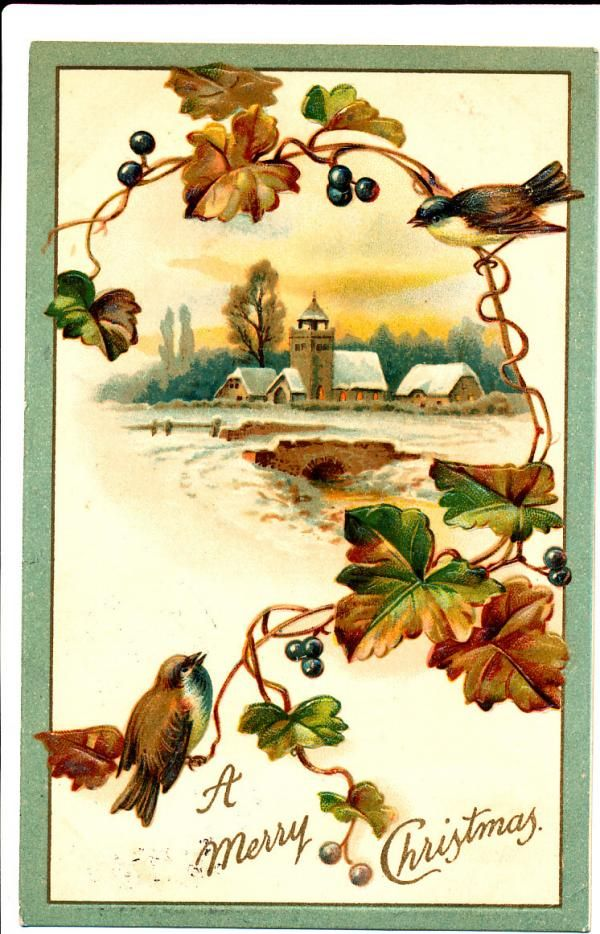 Birds and Leaves Merry Christmas - 1909