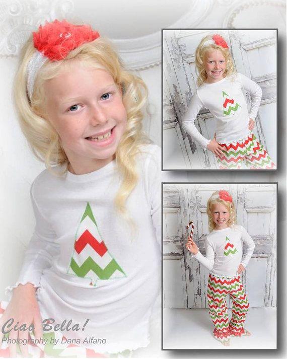 Chevron Christmas Tree Pajamas, Girls Christmas Pajamas, Christmas Pajamas for Children, Kids Christmas Pajamas, 2T, 3T, 4T, 6, 8, 10