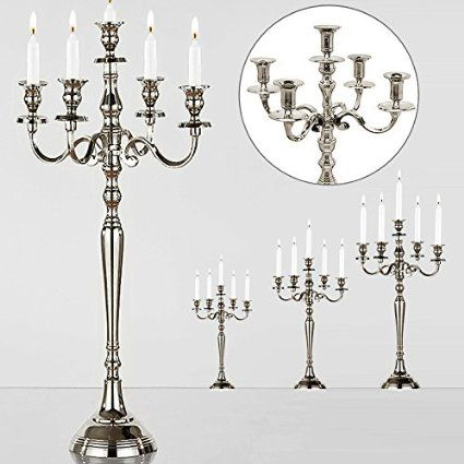 Kerzenleuchter 5-armig Silber-Optik vernickelt 60cm - Kerzenständer Kerzenhalter Kerzen Leuchter Kandelaber
