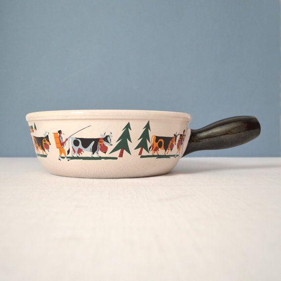 Vintage Landert Swiss Clay Fondue Pot