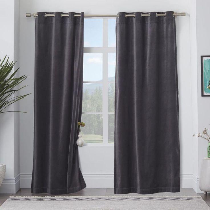 Velvet Grommet Curtain - Iron