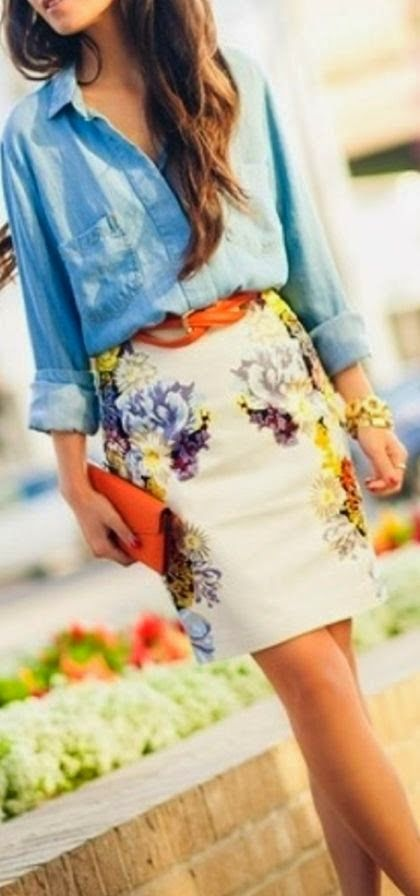 Totally would rock this ensemble. Denim shirt with colorful skirts fashion for summer Fun and Fashion Blog