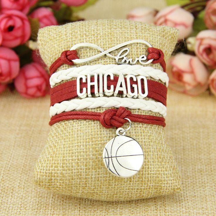 Infinity Love Chicago  Football Team Bracelet white red Sports Fulfillment #Affiliate