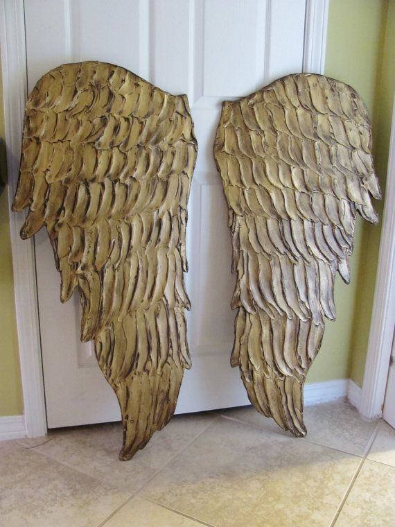 Made to Order Large Gold Wooden Textured Architectural Angel Wing Feathers  Wall Art Carved Sculpture Set